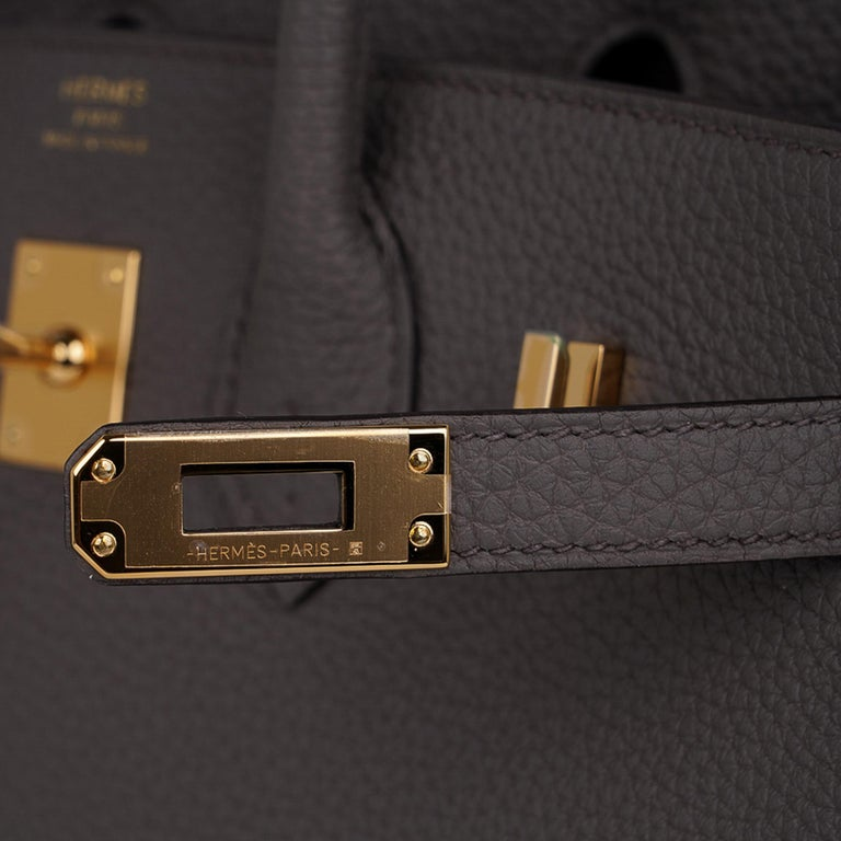 Hermes Birkin 30 Bag Etain Gray Gold Hardware Togo Leather In New Condition For Sale In Miami, FL