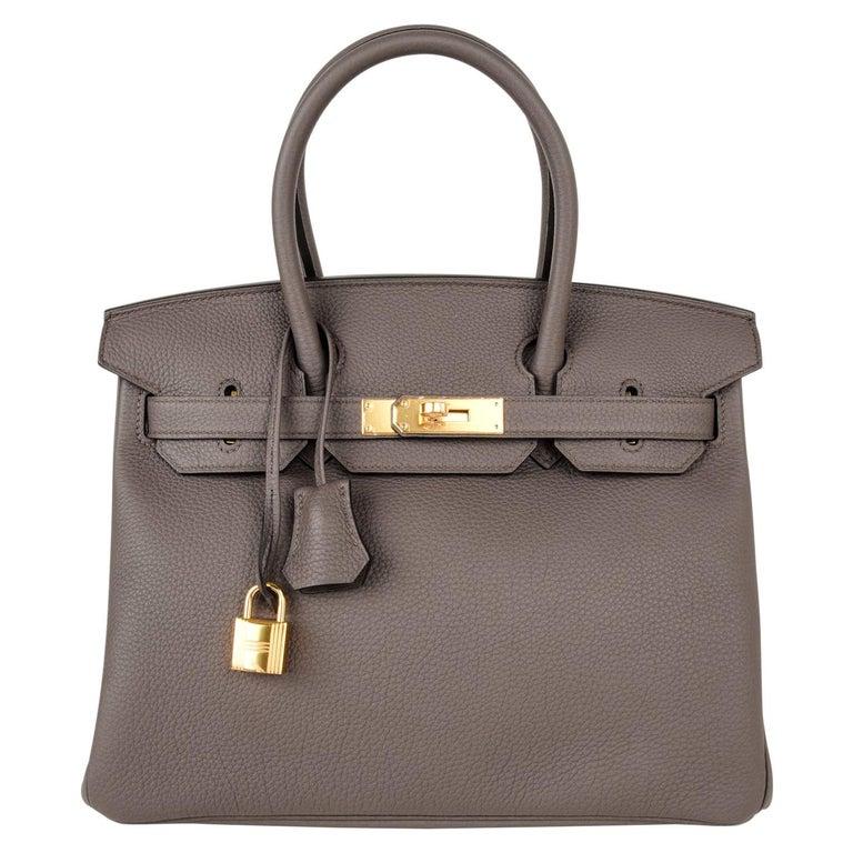 Hermes Birkin 30 Bag Etain Gray Gold Hardware Togo Leather For Sale