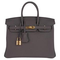 Hermes Birkin 30 Bag Etain Gray Gold Hardware Togo Leather