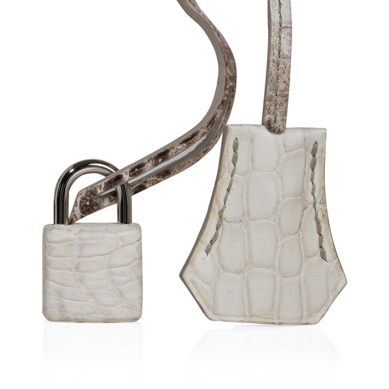 Brown Hermes Birkin 30 Bag Exquisite Blanc Himalaya Palladium Hardware For Sale