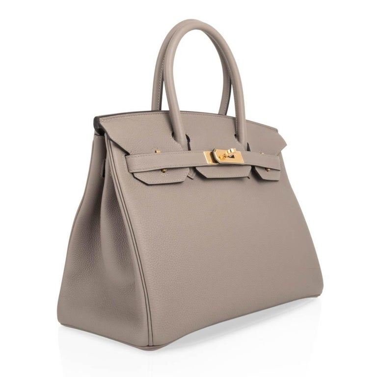 Hermes Birkin 30 Bag Gris Asphalte Togo Gold Hardware Perfect Neutral In New Condition For Sale In Miami, FL