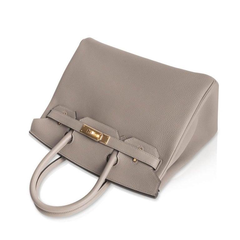 Women's Hermes Birkin 30 Bag Gris Asphalte Togo Gold Hardware Perfect Neutral For Sale