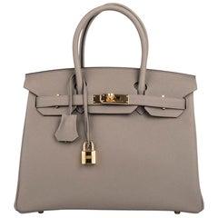Hermes Birkin 30 Bag Gris Asphalte Togo Gold Hardware Perfect Neutral