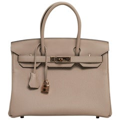 Hermes Birkin 30 Bag Gris Tourterelle Rose Gold Hardware Togo Leather