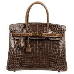 Hermes Birkin 30 Handtasche HSS Krokodil Gris Elefant / Boucherie Gold Hardware