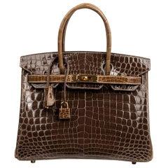 Hermes Birkin 30 Bag HSS Crocodile Gris Elephant / Ficelle Gold Hardware