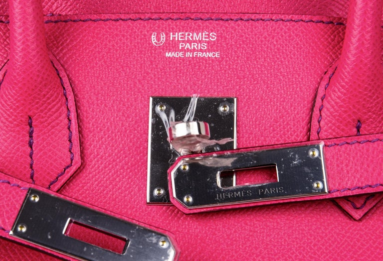 Red Hermes Birkin 30 Bag HSS Pink Rose Tyrien / Blue Paon Palladium Special Order For Sale