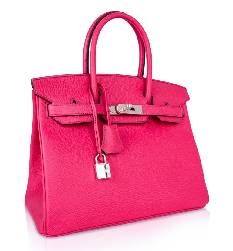 Hermes Birkin 30 Bag HSS Pink Rose Tyrien / Blue Paon Palladium Special Order For Sale 1