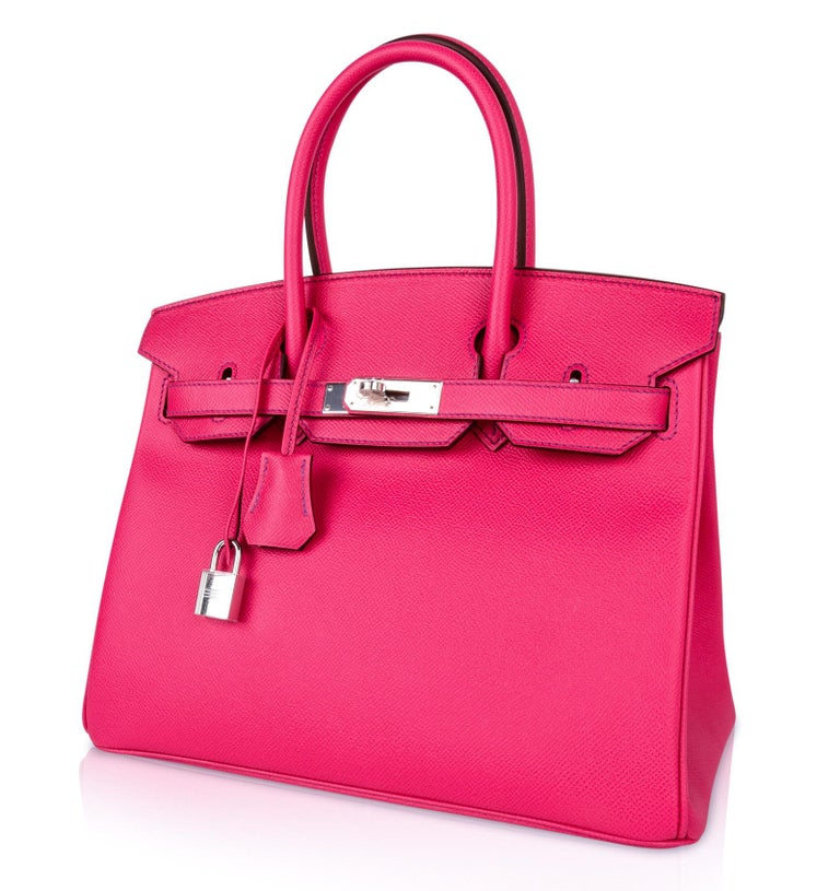 Hermes Birkin 30 Bag HSS Pink Rose Tyrien / Blue Paon Palladium Special Order For Sale 2