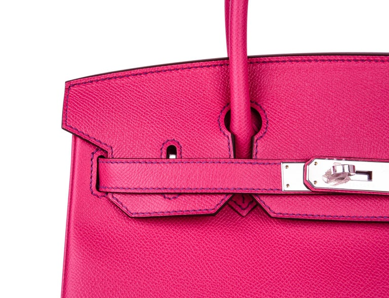 Hermes Birkin 30 Bag HSS Pink Rose Tyrien / Blue Paon Palladium Special Order For Sale 3