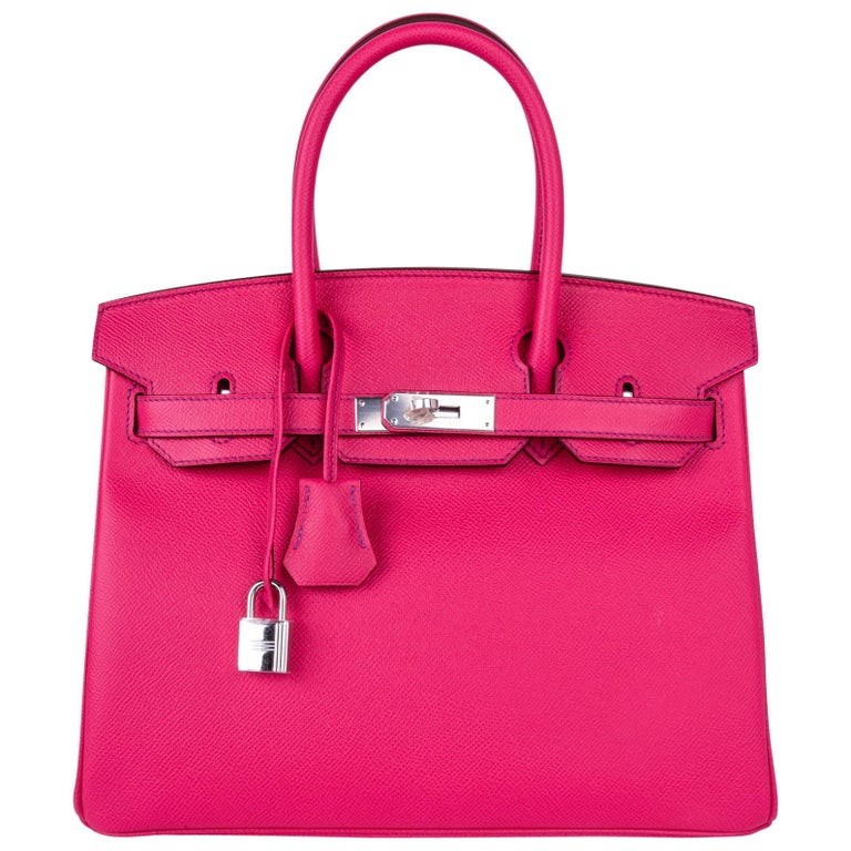 Hermes Birkin 30 Bag HSS Pink Rose Tyrien / Blue Paon Palladium Special Order For Sale
