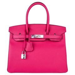Hermes Birkin 30 Bag HSS Rare Pink Rose Tyrien / Blue Paon Palladium