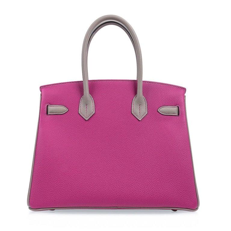Hermes Birkin 30 Bag HSS Rose Pourpre Gris Asphalte Togo Gold Hardware For Sale 5