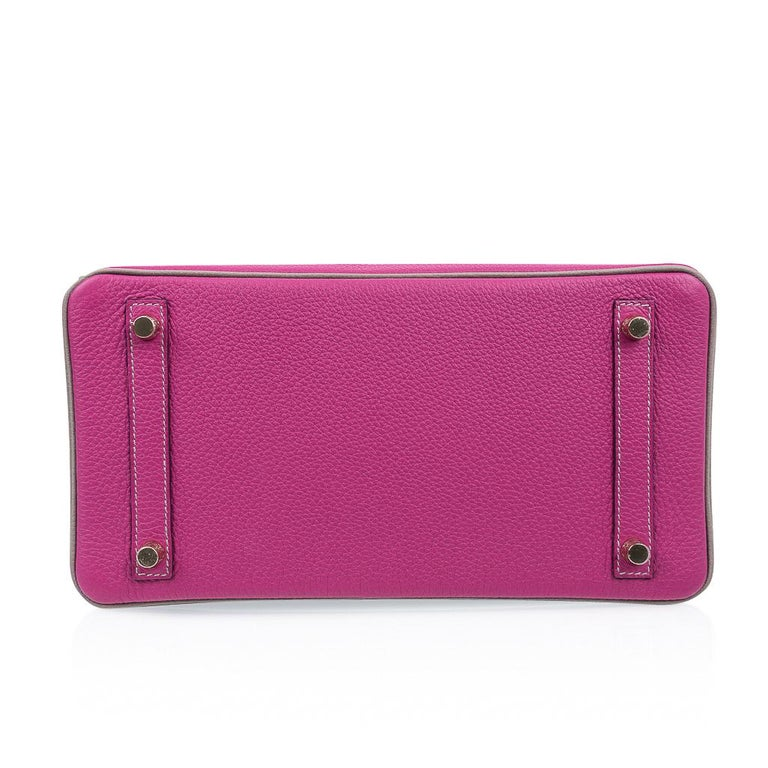 Hermes Birkin 30 Bag HSS Rose Pourpre Gris Asphalte Togo Gold Hardware For Sale 6