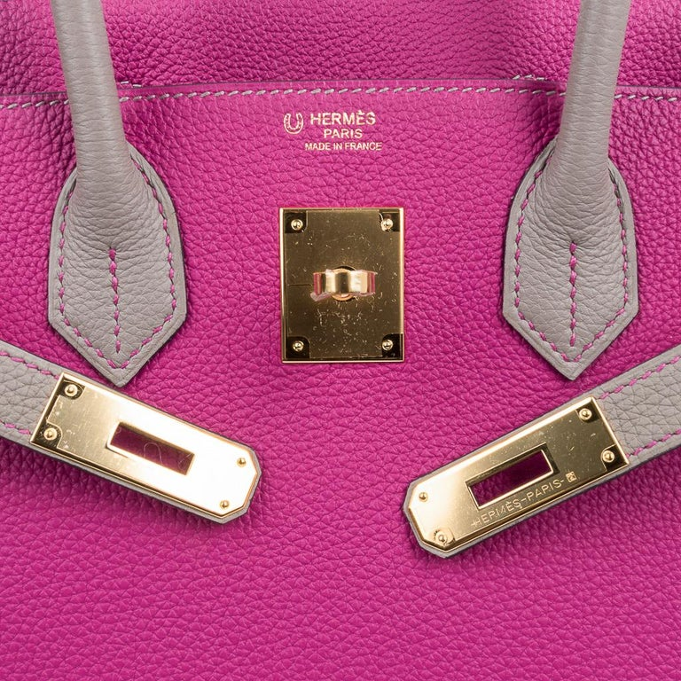 Pink Hermes Birkin 30 Bag HSS Rose Pourpre Gris Asphalte Togo Gold Hardware For Sale