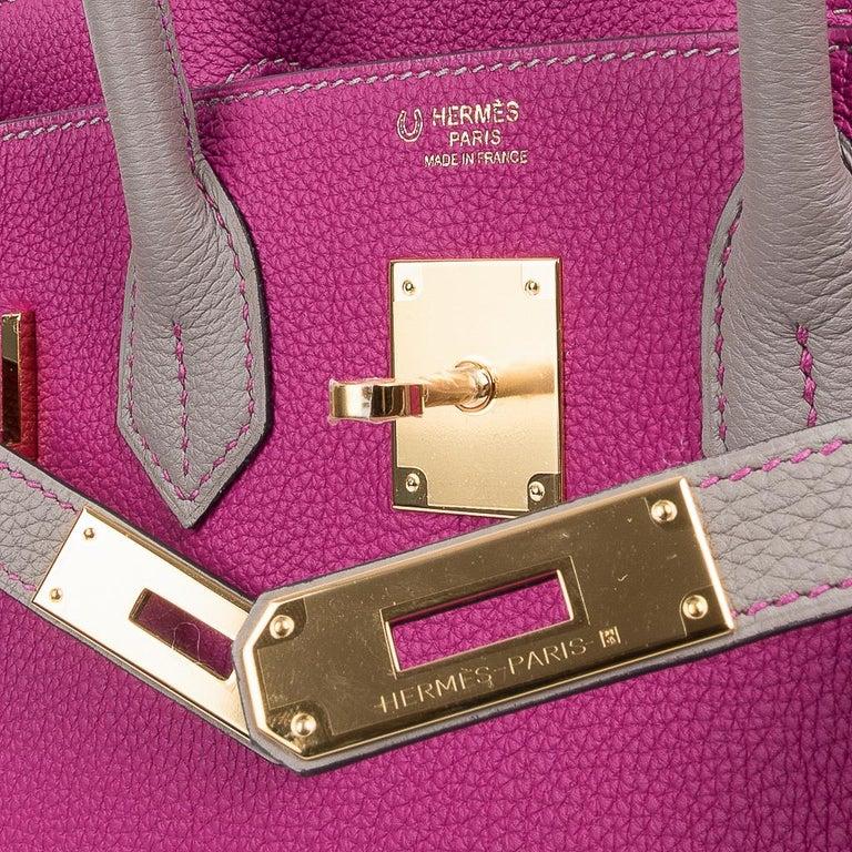 Hermes Birkin 30 Bag HSS Rose Pourpre Gris Asphalte Togo Gold Hardware In New Condition For Sale In Miami, FL