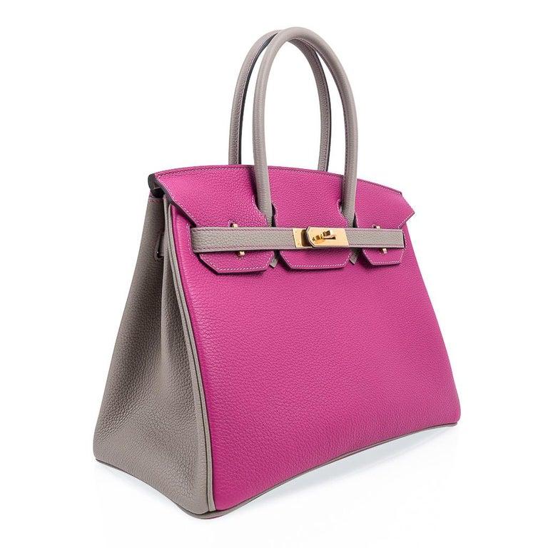 Women's Hermes Birkin 30 Bag HSS Rose Pourpre Gris Asphalte Togo Gold Hardware For Sale