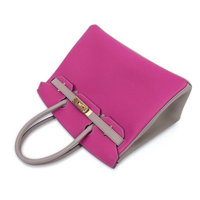 Hermes Birkin 30 Bag HSS Rose Pourpre Gris Asphalte Togo Gold Hardware For Sale 1