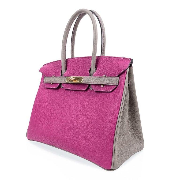 Hermes Birkin 30 Bag HSS Rose Pourpre Gris Asphalte Togo Gold Hardware For Sale 2