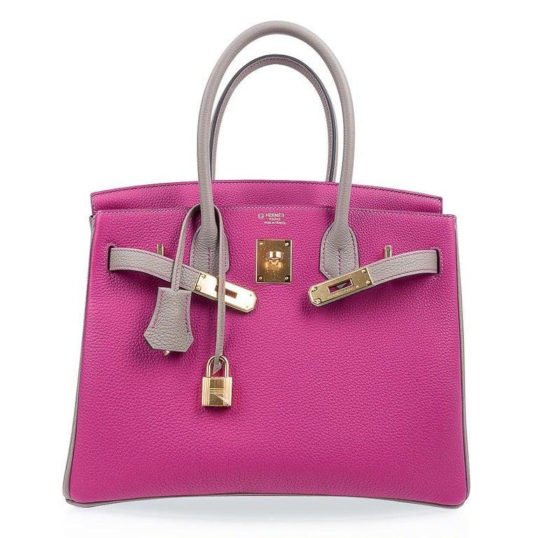 Hermes Birkin 30 Bag HSS Rose Pourpre Gris Asphalte Togo Gold Hardware For Sale 3
