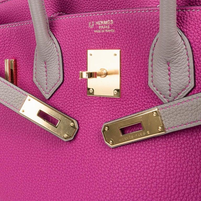 Hermes Birkin 30 Bag HSS Rose Pourpre Gris Asphalte Togo Gold Hardware For Sale 4