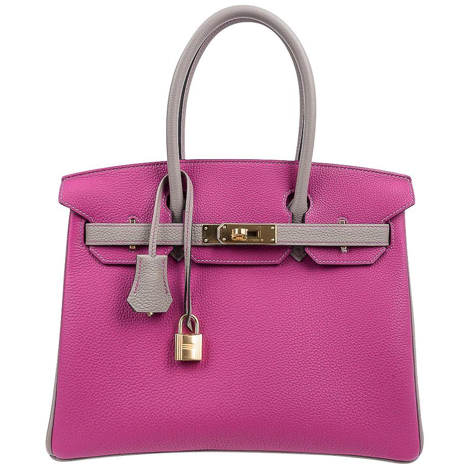 Hermes Birkin 30 Bag HSS Rose Pourpre Gris Asphalte Togo Gold Hardware