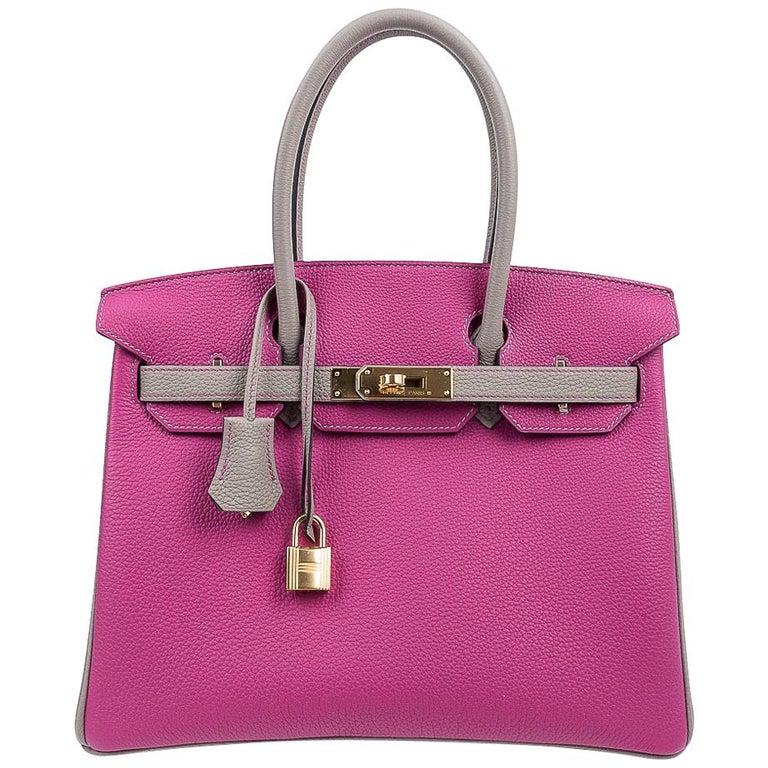 Hermes Birkin 30 Bag HSS Rose Pourpre Gris Asphalte Togo Gold Hardware For Sale
