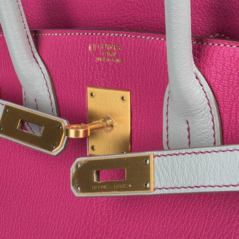 Pink Hermes Birkin HSS 30 Bag Rose Shocking / Gris Perle Brushed Gold Hardware Chevre For Sale