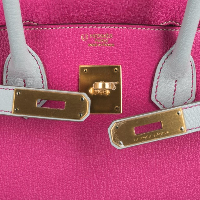 Hermes Birkin HSS 30 Bag Rose Shocking / Gris Perle Brushed Gold Hardware Chevre In New Condition For Sale In Miami, FL