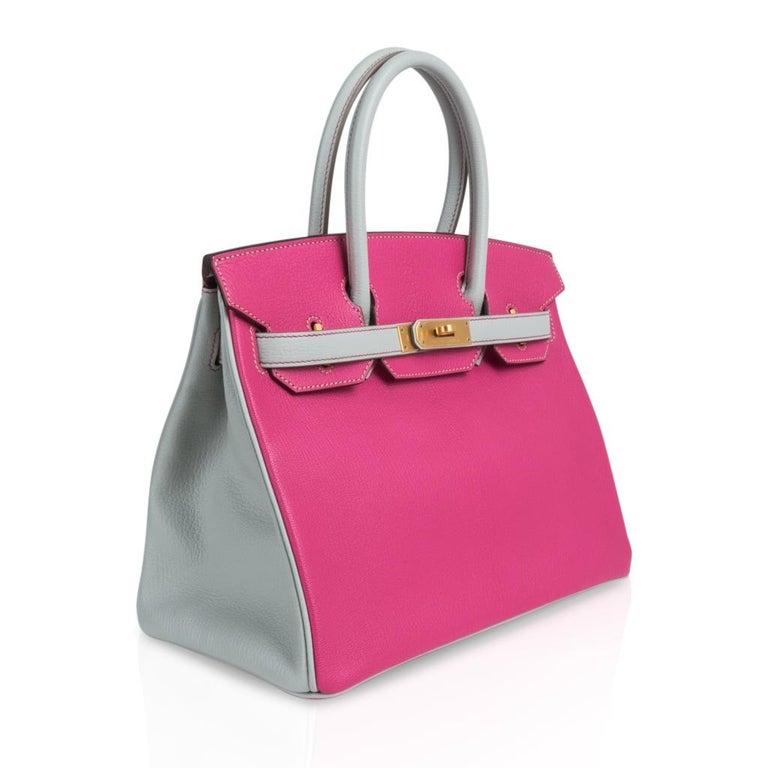 Women's Hermes Birkin HSS 30 Bag Rose Shocking / Gris Perle Brushed Gold Hardware Chevre For Sale