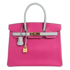 Hermes Birkin 30 Bag HSS Rose Shocking Gris Perle Chevre Gold Hardware