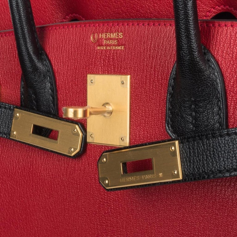 Hermes Birkin 30 Bag HSS Rouge Casaque and Black Chevre Brushed Gold Hardware In New Condition For Sale In Miami, FL