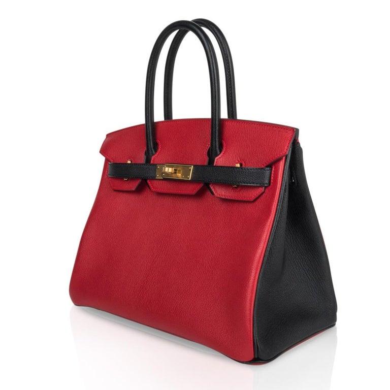 c93d289466 Hermes Birkin 30 Bag HSS Rouge Casaque and Black Chevre Brushed Gold  Hardware For Sale 2