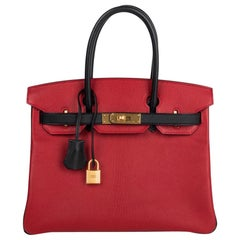 Hermes Birkin 30 Bag HSS Rouge Casaque and Black Chevre Brushed Gold Hardware