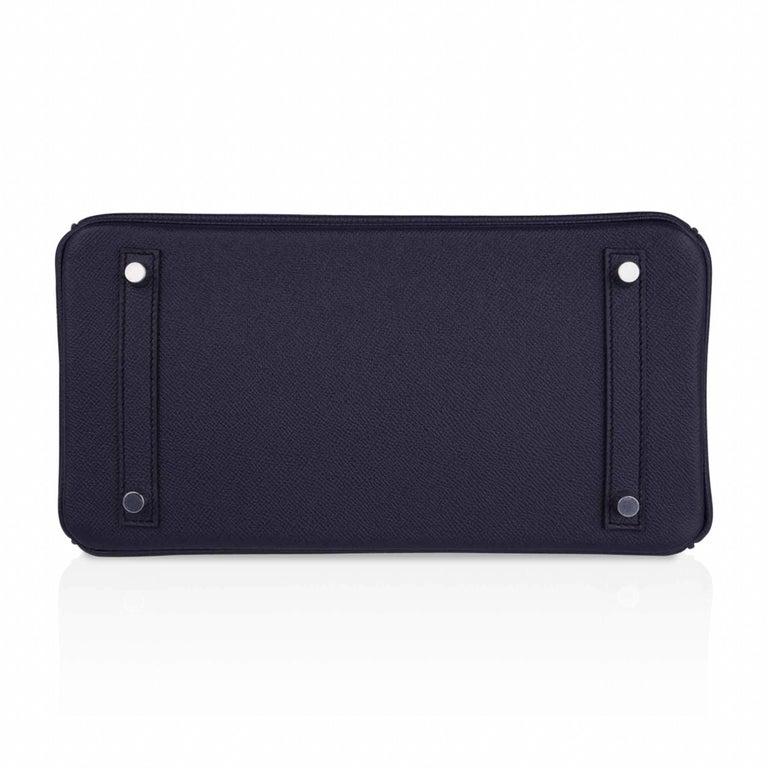 Hermes Birkin 30 Bag Indigo Epsom Palladium Hardware New w/ Box For Sale 5