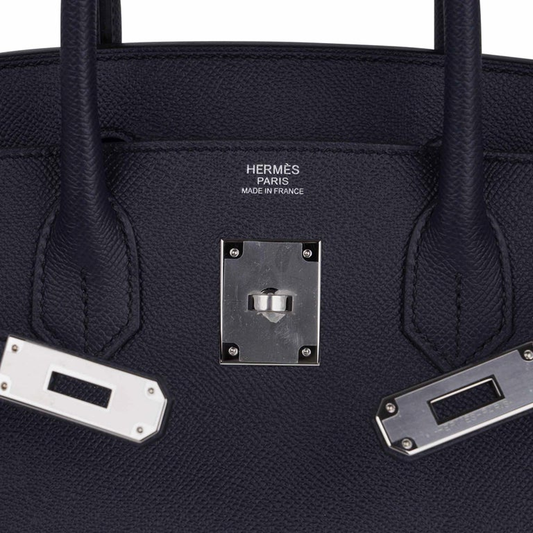Black Hermes Birkin 30 Bag Indigo Epsom Palladium Hardware New w/ Box For Sale