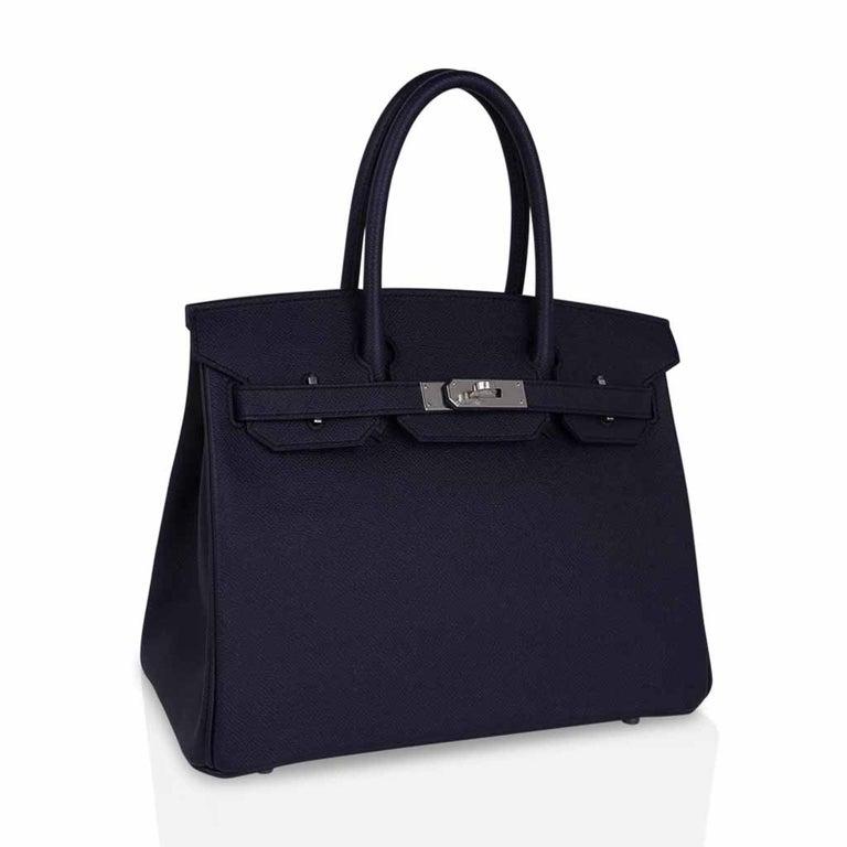 Women's Hermes Birkin 30 Bag Indigo Epsom Palladium Hardware New w/ Box For Sale