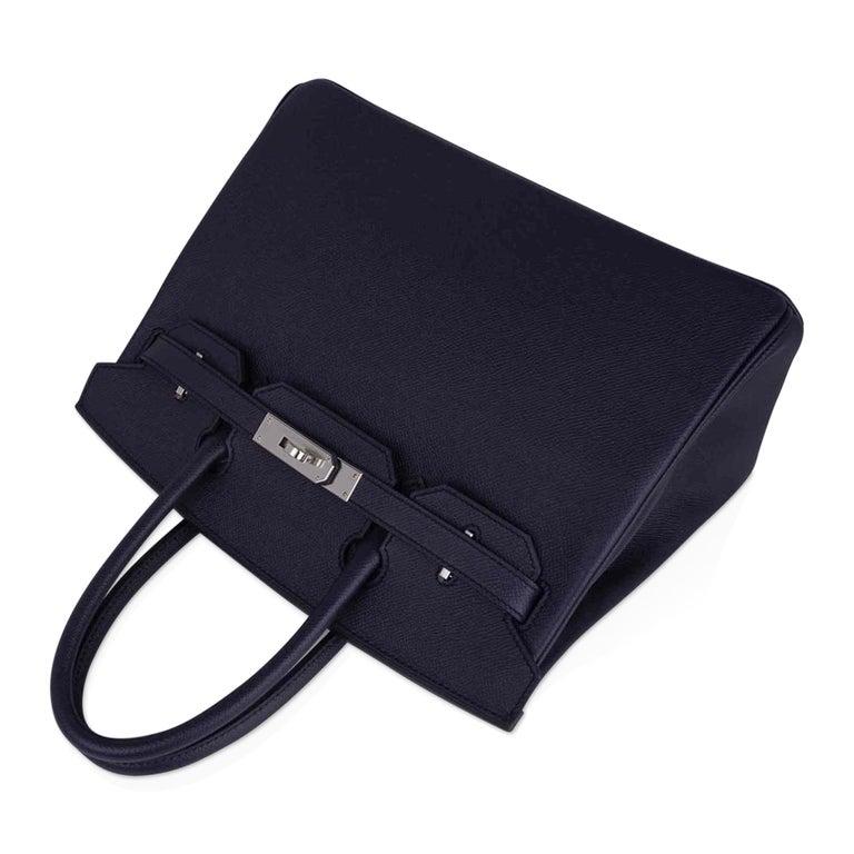 Hermes Birkin 30 Bag Indigo Epsom Palladium Hardware New w/ Box For Sale 1