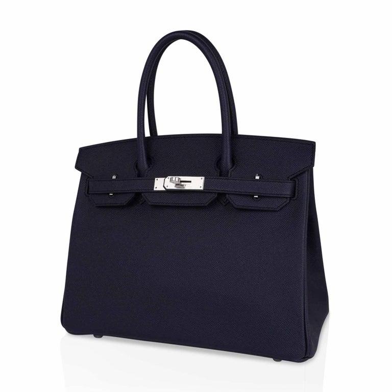 Hermes Birkin 30 Bag Indigo Epsom Palladium Hardware New w/ Box For Sale 2