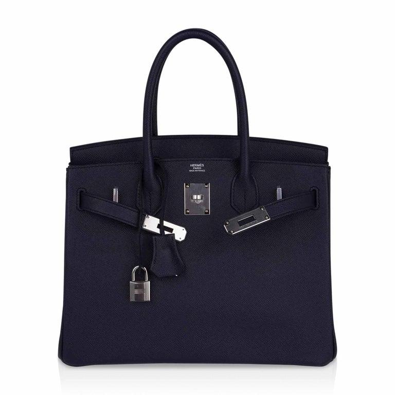 Hermes Birkin 30 Bag Indigo Epsom Palladium Hardware New w/ Box For Sale 3