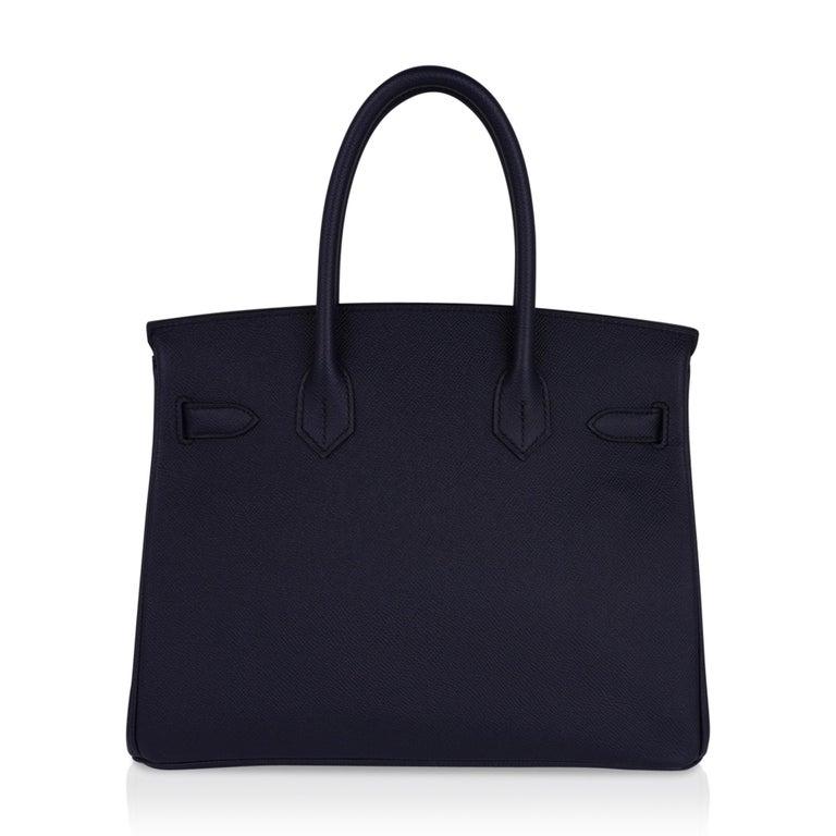 Hermes Birkin 30 Bag Indigo Epsom Palladium Hardware New w/ Box For Sale 4
