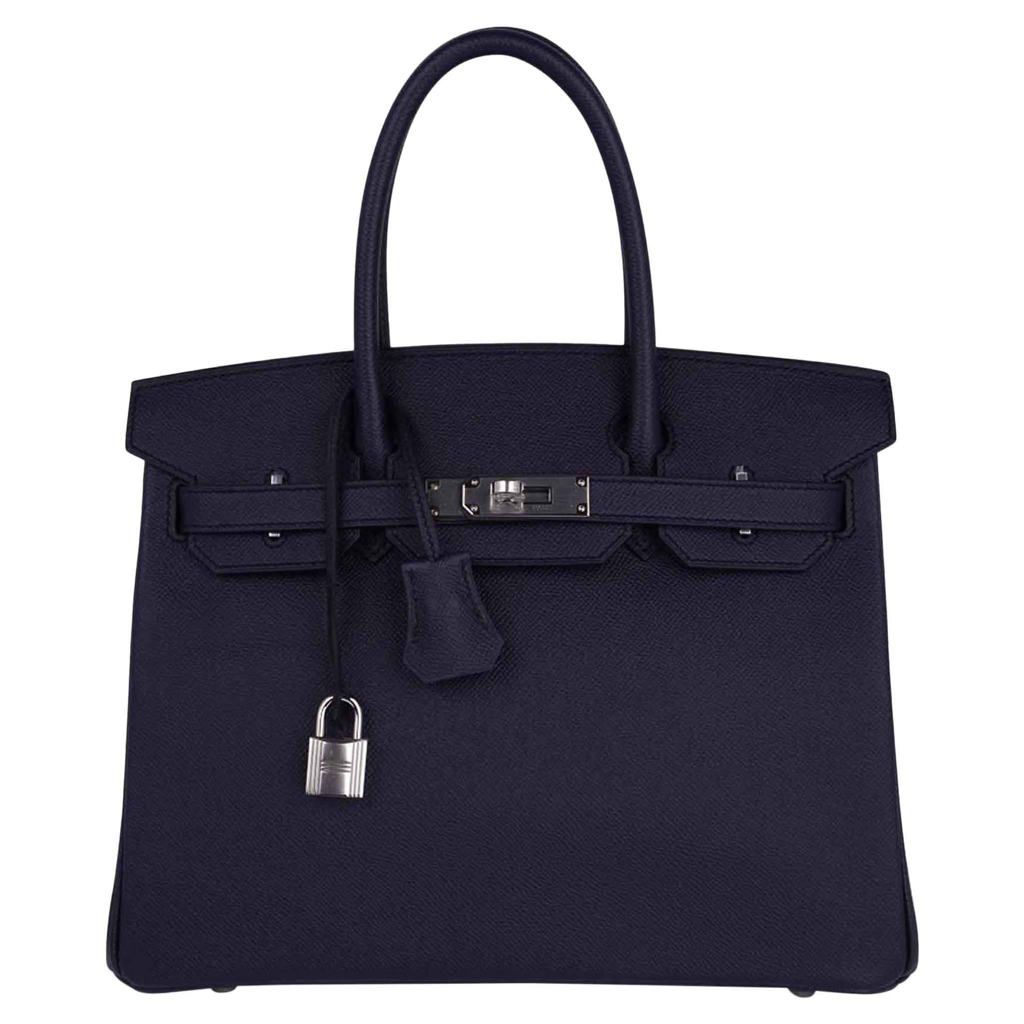 Hermes Birkin 30 Bag Indigo Epsom Palladium Hardware New w/ Box