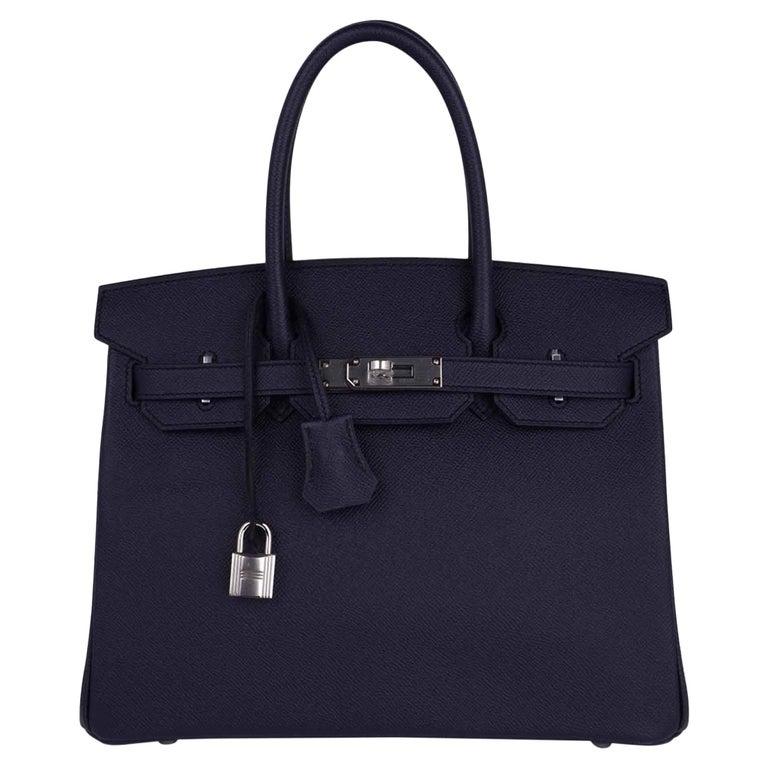 Hermes Birkin 30 Bag Indigo Epsom Palladium Hardware New w/ Box For Sale