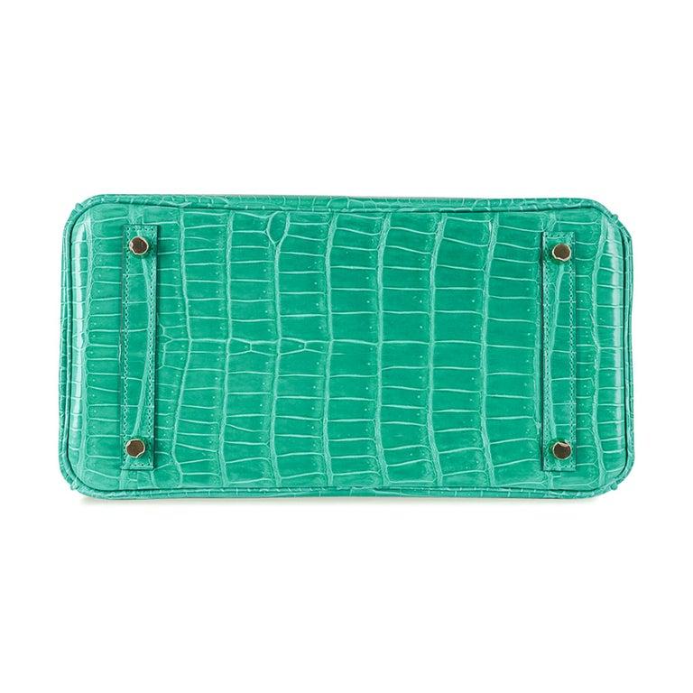 Hermes Birkin 30 Bag Jade Porosus Crocodile Palladium Hardware New w/Box For Sale 5