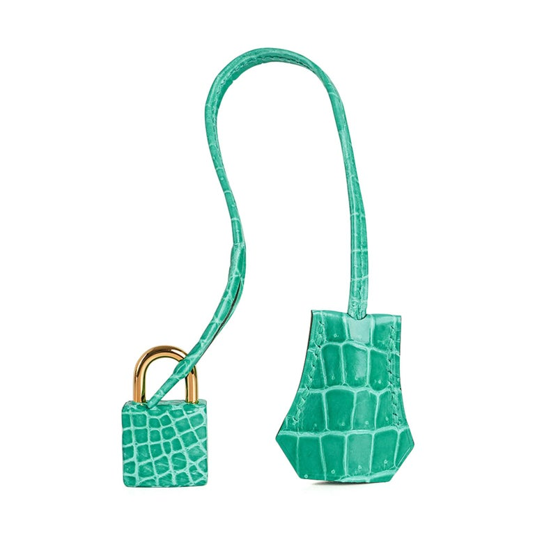 Guaranteed authentic Hermes Birkin 30 bag features exquisite and breathtaking Jade in Porosus Crocodile.   Show stopping and over the top fabulous! This rare and beautiful Hermes Birkin has exceptional scales.  Accentuated with Palladium hardware.
