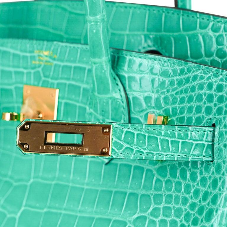 Blue Hermes Birkin 30 Bag Jade Porosus Crocodile Palladium Hardware New w/Box For Sale