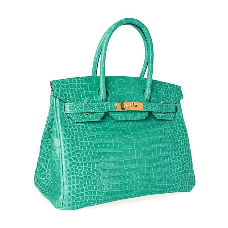 Hermes Birkin 30 Bag Jade Porosus Crocodile Palladium Hardware New w/Box In New Condition For Sale In Miami, FL