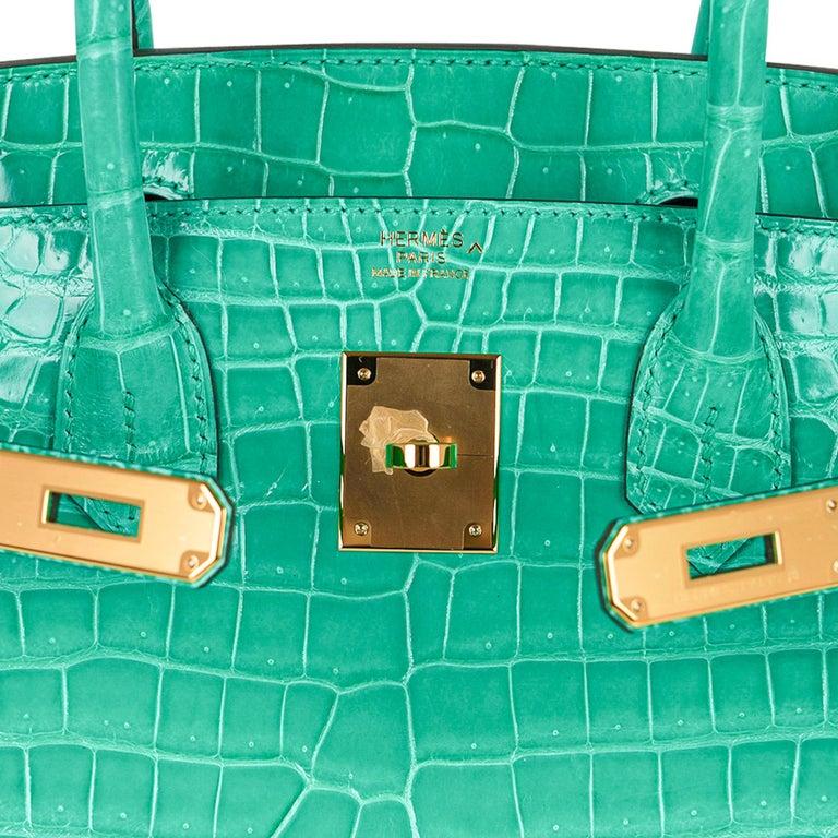 Women's Hermes Birkin 30 Bag Jade Porosus Crocodile Palladium Hardware New w/Box For Sale