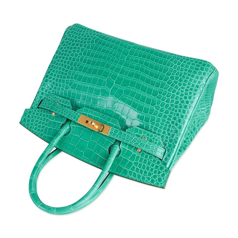 Hermes Birkin 30 Bag Jade Porosus Crocodile Palladium Hardware New w/Box For Sale 1