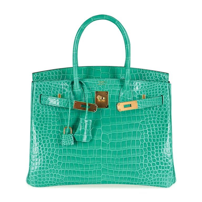 Hermes Birkin 30 Bag Jade Porosus Crocodile Palladium Hardware New w/Box For Sale 3